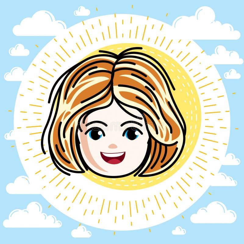 Type caucasien visage de fille exprimant des émotions positives, vecteur illustration de vecteur