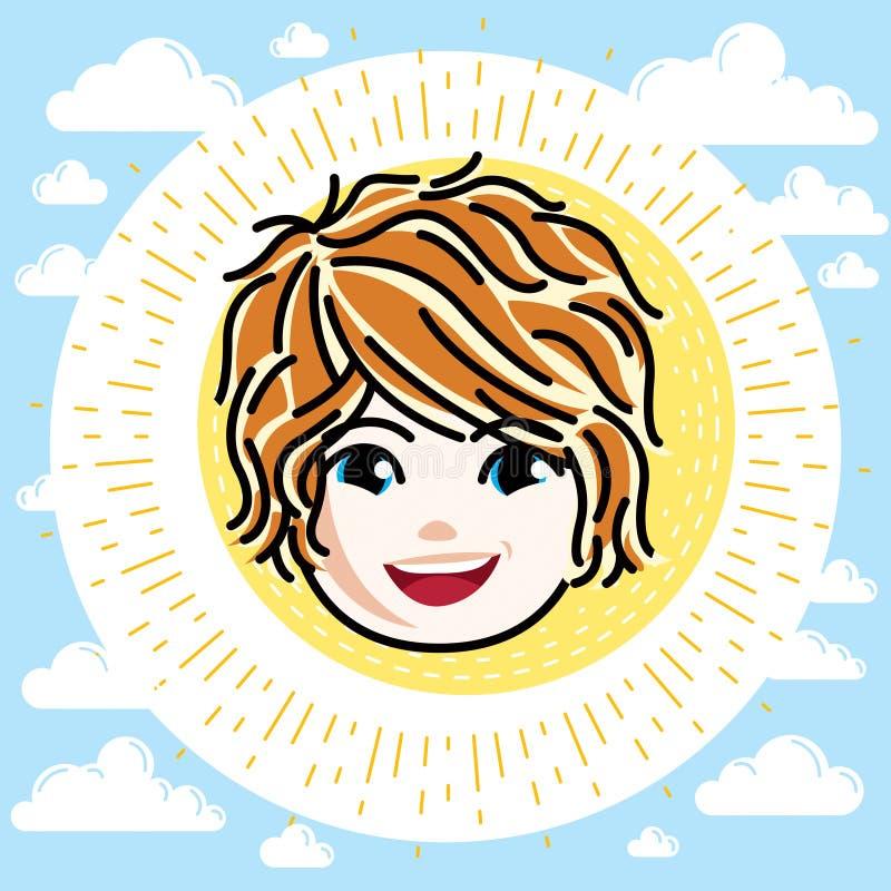 Type caucasien visage de fille exprimant des émotions positives, vecteur HU illustration stock