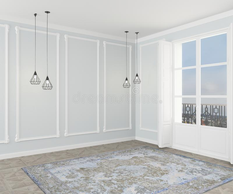 Type classique Pièce grise vide avec le stuc, les tapis, la fenêtre et, moulage, faux pour un sofa ou une chaise Vue de c?t? rend illustration de vecteur