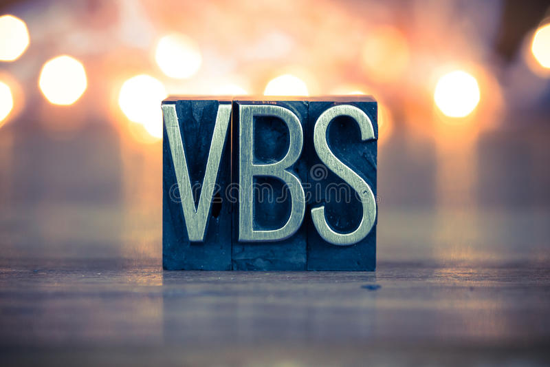 Type d'impression typographique en métal de concept de VBS photographie stock