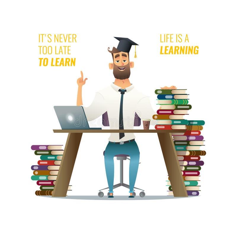 Type dans le processus de learnin Équipez se reposer derrière son bureau studing utilisant son ordinateur Llustration de concepti illustration de vecteur