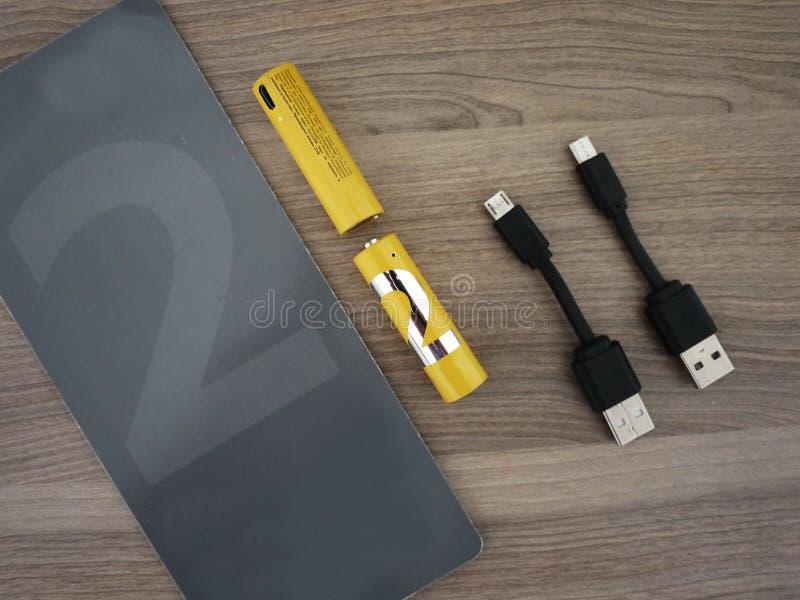 Type de batteries d'aa Détails et plan rapproché intérieurs images libres de droits