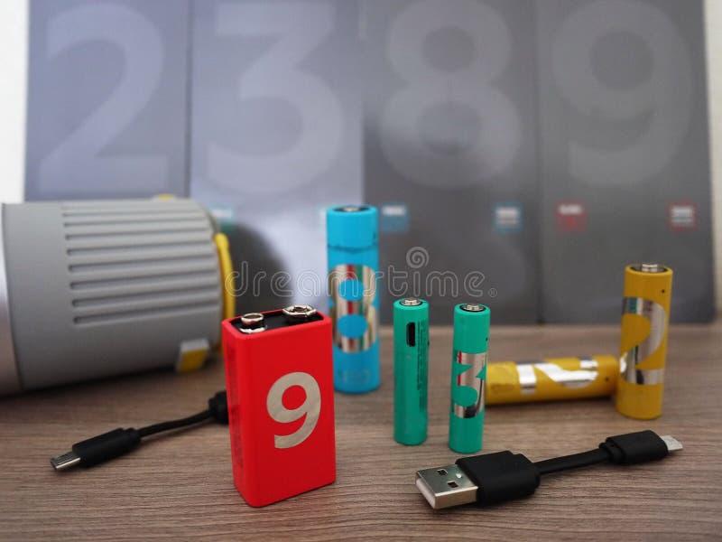 Type de batteries d'aa Détails et plan rapproché intérieurs photographie stock libre de droits