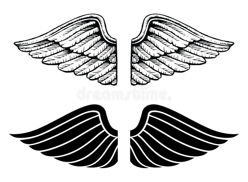 Type de cru et de dessin d 39 ailes illustration de vecteur - Ailes d ange dessin ...