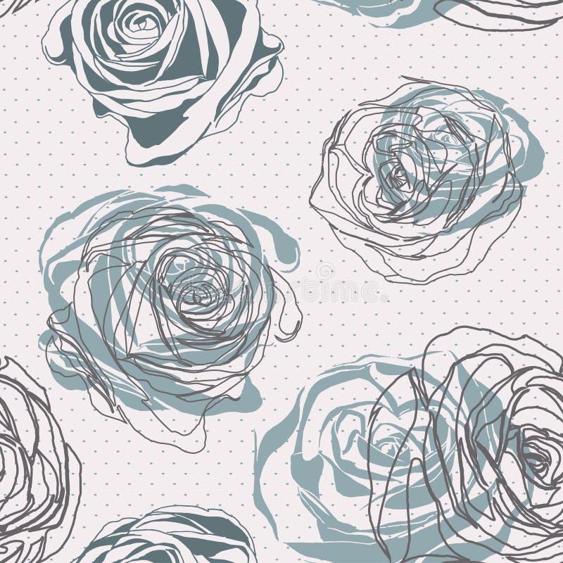 Type de cru Modèle rose floral illustration de vecteur
