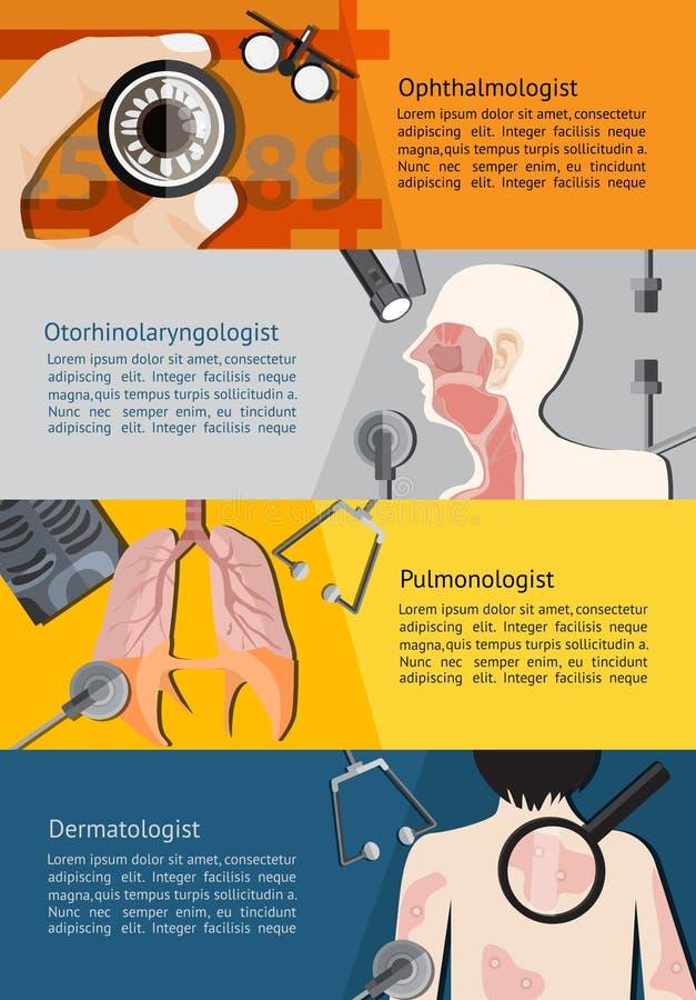 Type de docteur de médecins de spécialiste tel que l'ophtalmologue d'oeil illustration libre de droits