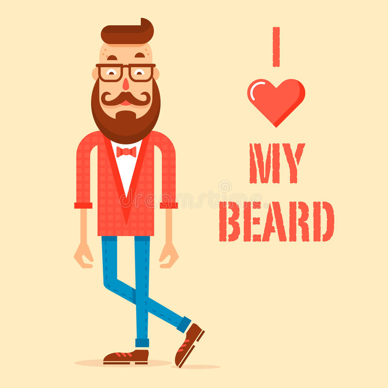 Type de hippie avec la barbe moderne illustration stock