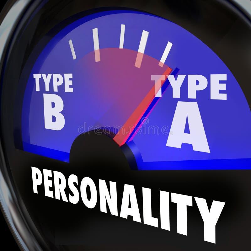 Type de mesure de test de personnalité un haut bourreau de travail Amb d'inquiétude d'effort illustration stock