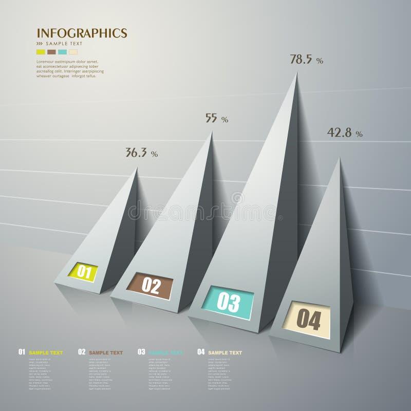 Type de pyramide 3d abstrait de vecteur infographics illustration stock