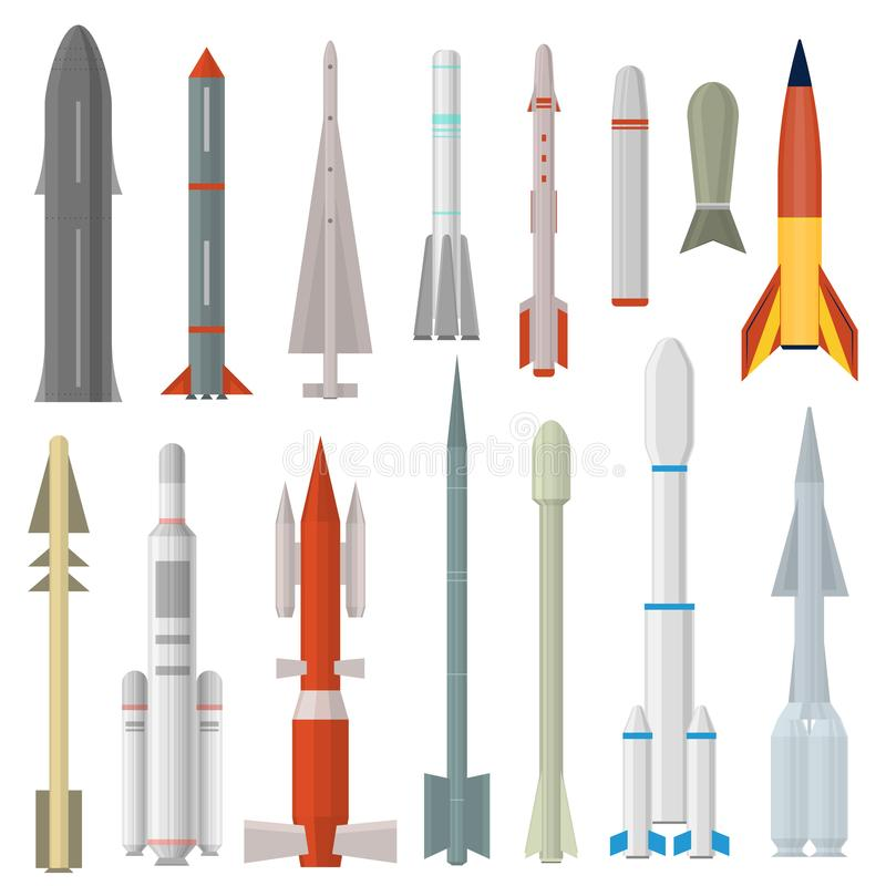 Type de Rocket Weapon Icon Set Different de bande dessinée Vecteur illustration de vecteur