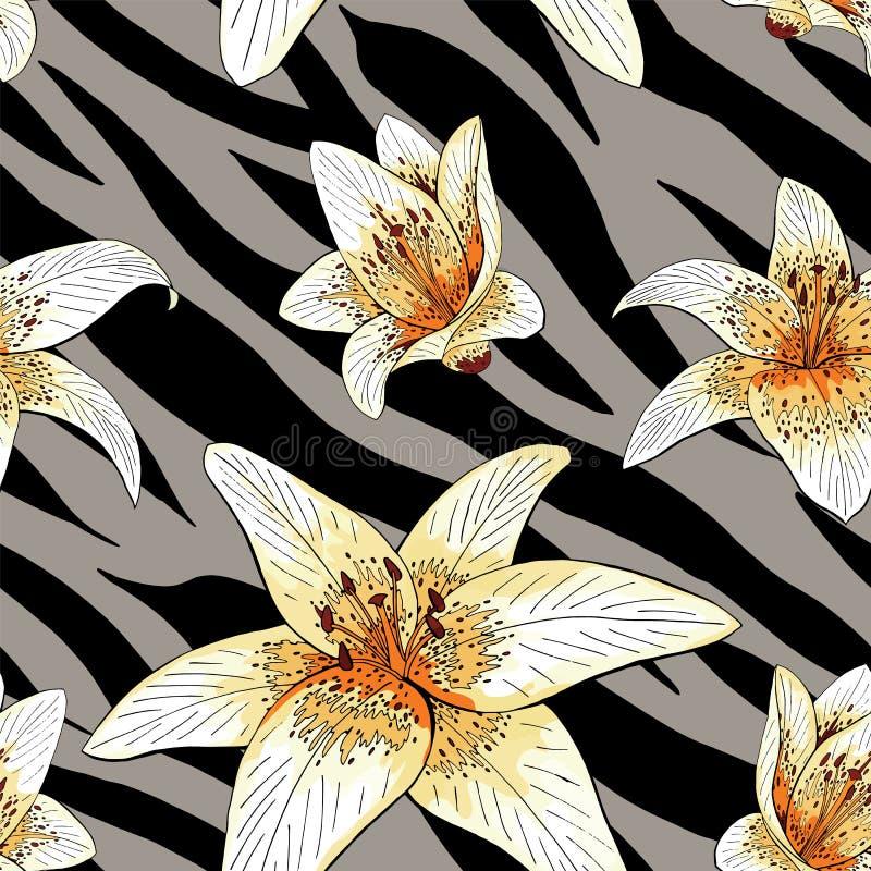 Type de tigre de lis sur le modèle gris de peau de tigre sans couture illustration libre de droits