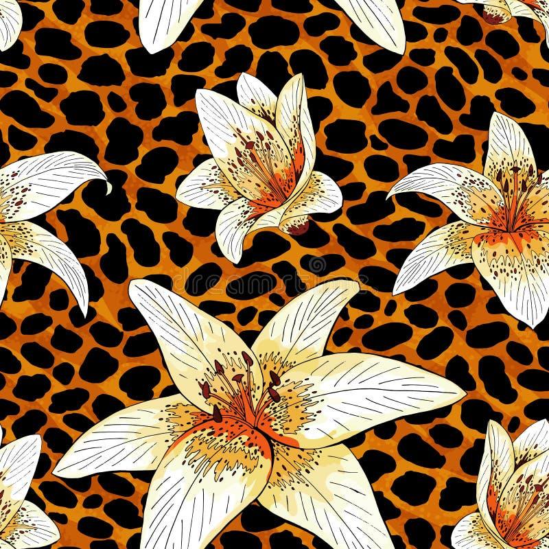 Type de tigre de lis sur le modèle orange de peau de léopard sans couture illustration stock