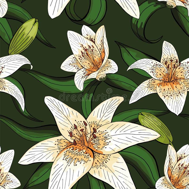 Type de tigre de lis sur le modèle vert de nature de feuilles sans couture illustration de vecteur