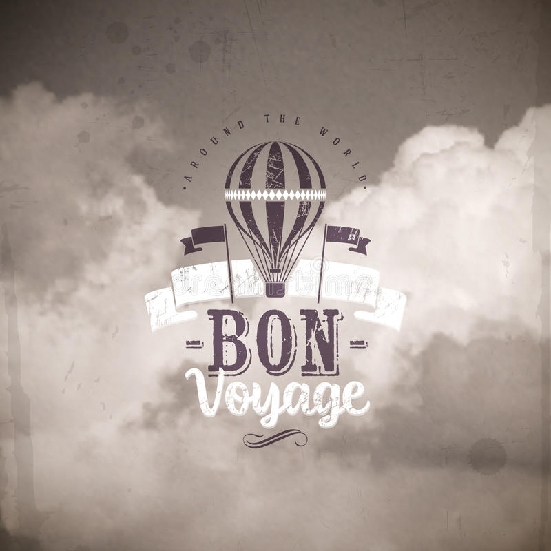 Type design with Vintage hot air balloon stock illustration