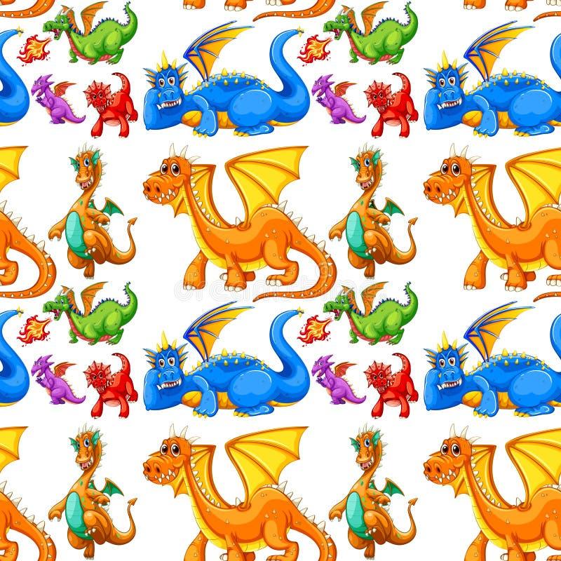 Type différent sans couture de dragons illustration libre de droits