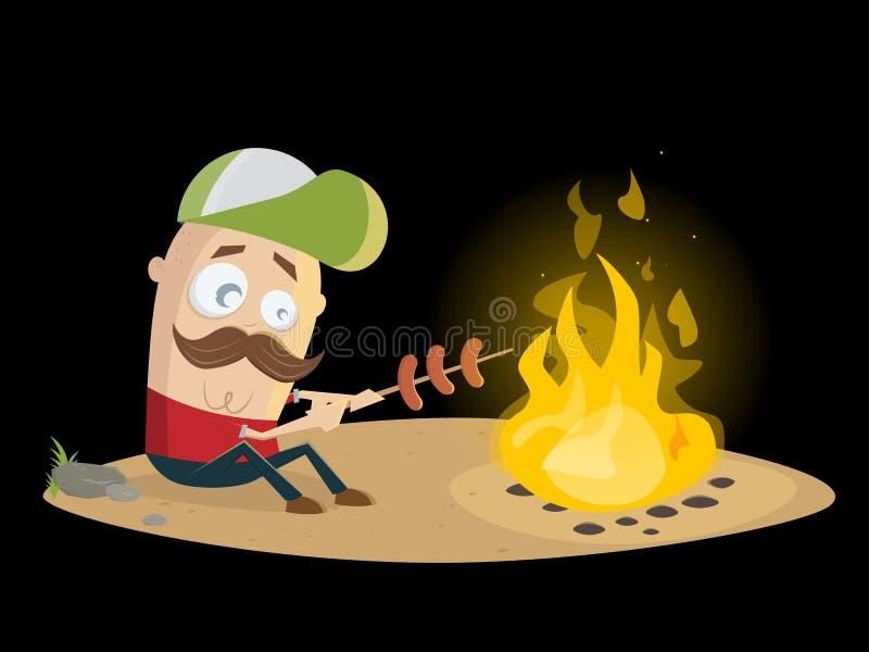 Type drôle grillant des saucisses au feu de camp illustration stock
