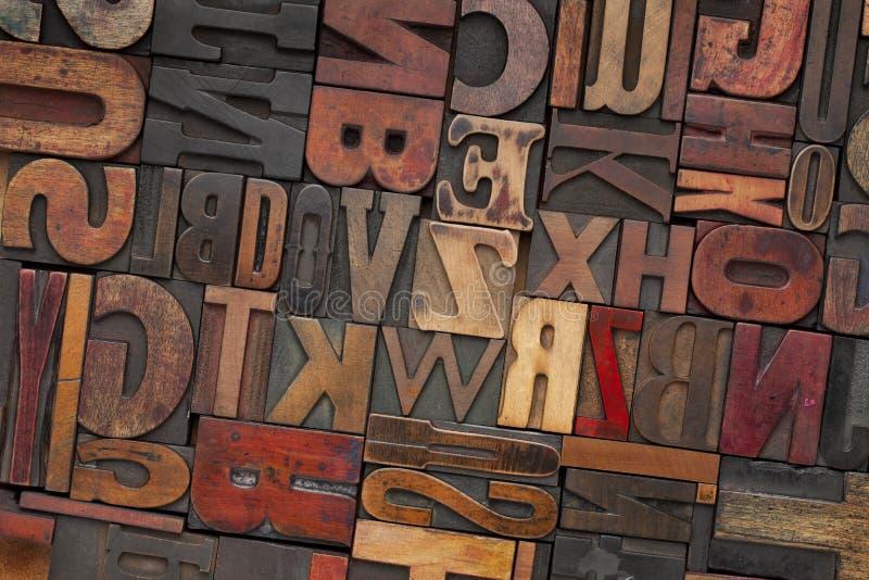 Type en bois d'impression typographique de cru image libre de droits
