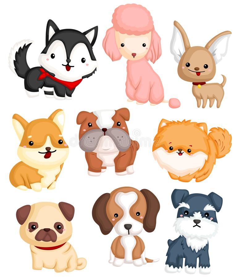 Type ensemble de chiens de vecteur illustration libre de droits
