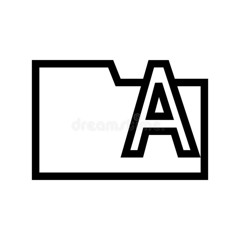 Type Fonts Folder Icon Flat royalty free illustration