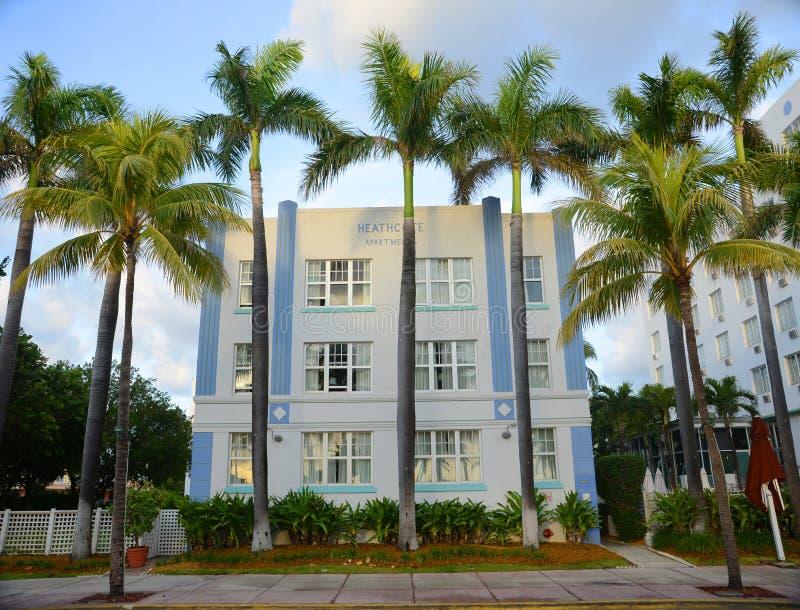 Type Heathcote d'art déco dans Miami Beach photographie stock libre de droits