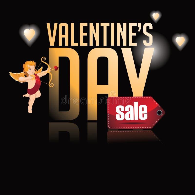Type heureux fond d'or de vente de jour de valentines illustration de vecteur