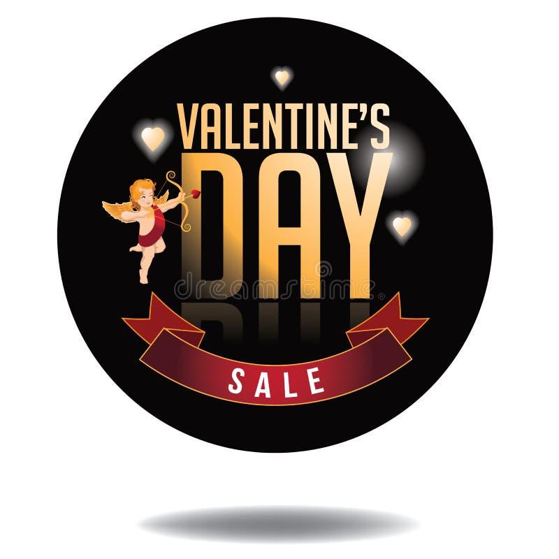 Type heureux icône d'or de vente de jour de valentines illustration de vecteur