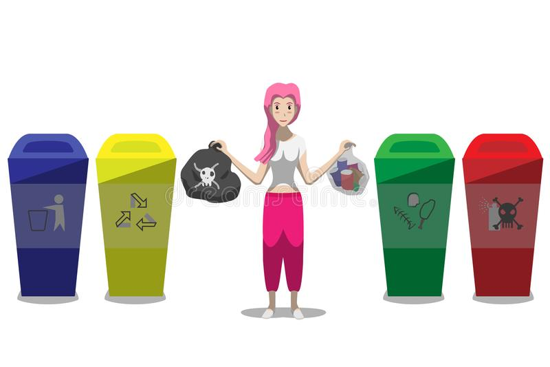 Type illustration de séparation de déchets de jeune femme de caractère témoin de vecteur d'isolement sur le fond blanc illustration stock