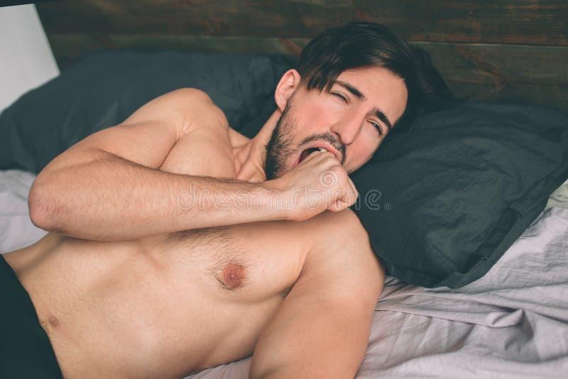 Type insouciant appréciant le nouveau jour Homme barbu sexy et heureux dans le lit photographie stock libre de droits