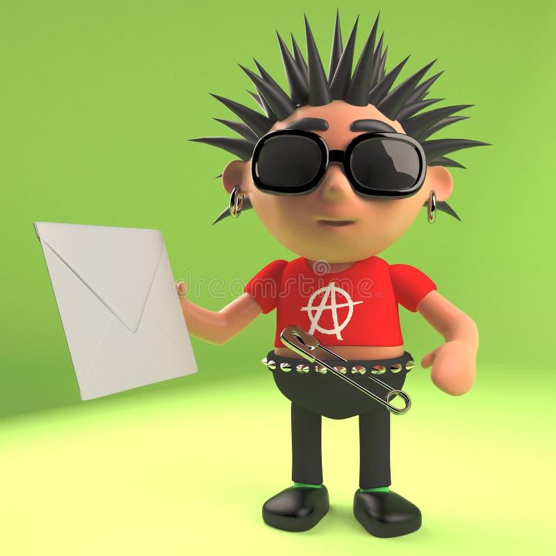 Type méchant de punk rock tenant une enveloppe avec un intérieur de lettre, illustration 3d illustration stock