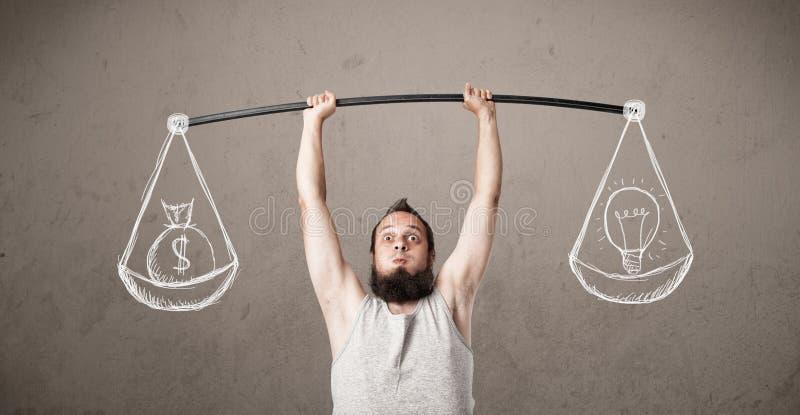 Type maigre essayant d'obtenir équilibré photo libre de droits
