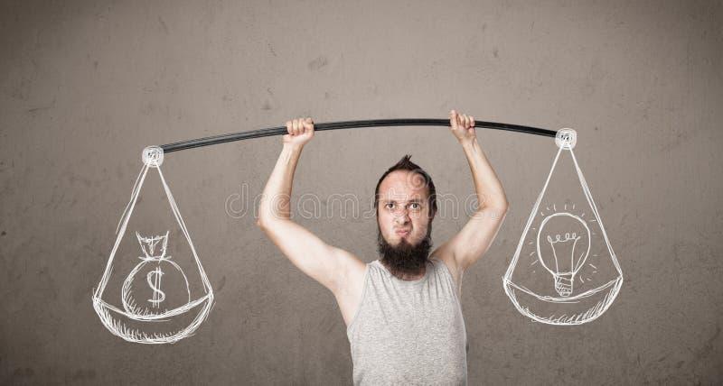 Type maigre essayant d'obtenir équilibré images libres de droits
