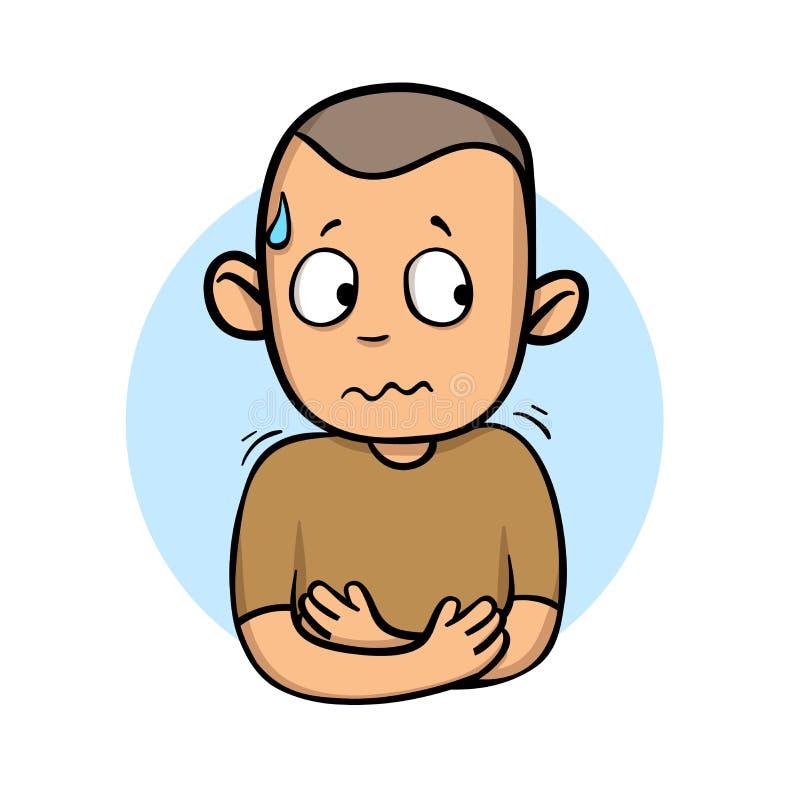 Type malade tremblant et suant Se sentir souffrant Icône de conception de bande dessinée Illustration plate de vecteur D'isolemen illustration libre de droits