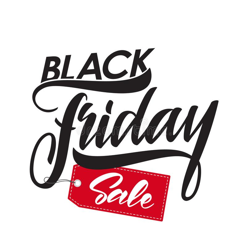 Type manuscrit lettrage de vente de Black Friday avec l'étiquette rouge illustration libre de droits