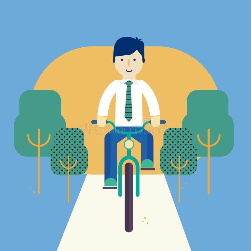 Type montant un vélo illustration stock