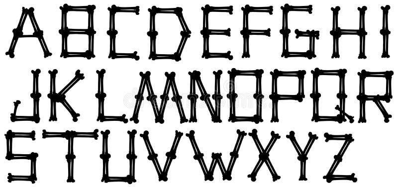 Type noir graphique vecteur d'alphabet d'os de silhouette illustration de vecteur