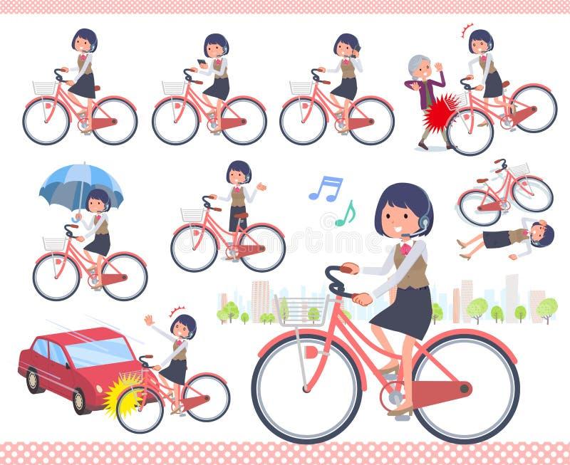 Type plat cycle de women_city de centre d'appels illustration de vecteur