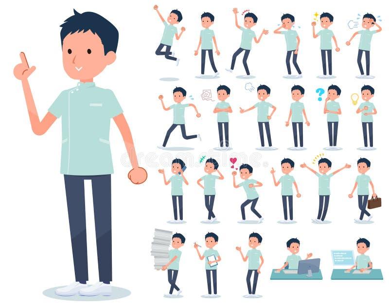 Type plat men_emotion de chiroprakteur illustration stock