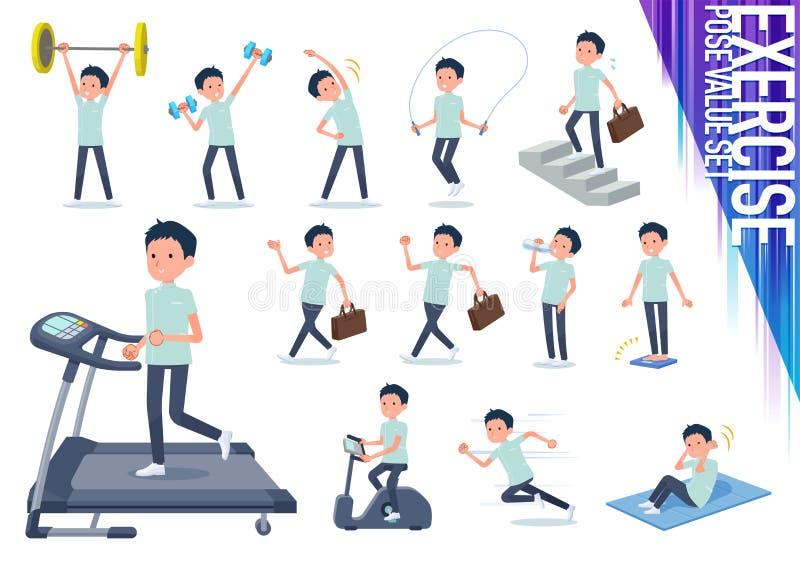Type plat men_exercise de chiroprakteur illustration de vecteur