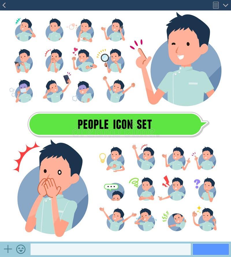 Type plat men_icon de chiroprakteur illustration de vecteur
