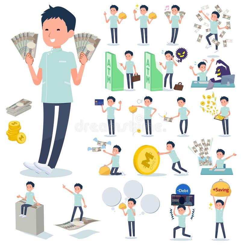 Type plat men_money de chiroprakteur illustration stock