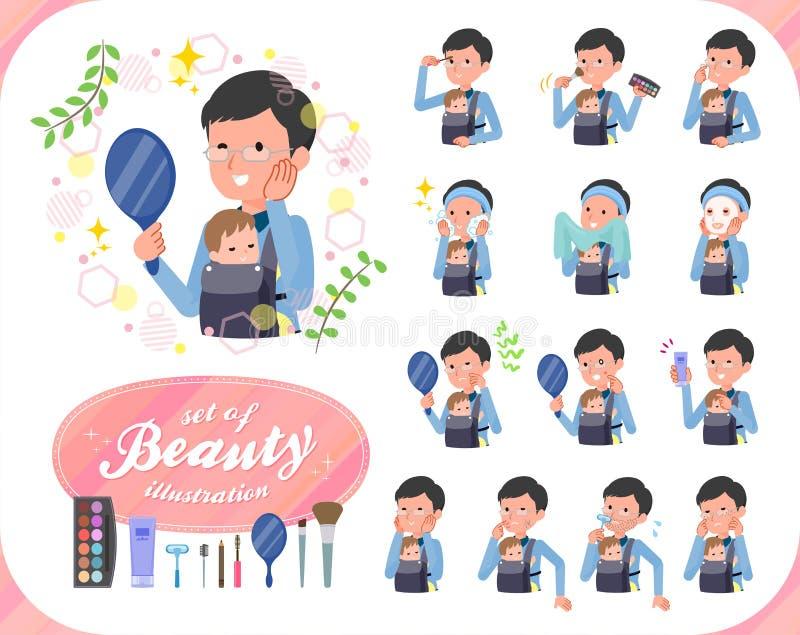 Type plat papa et baby_beauty illustration libre de droits