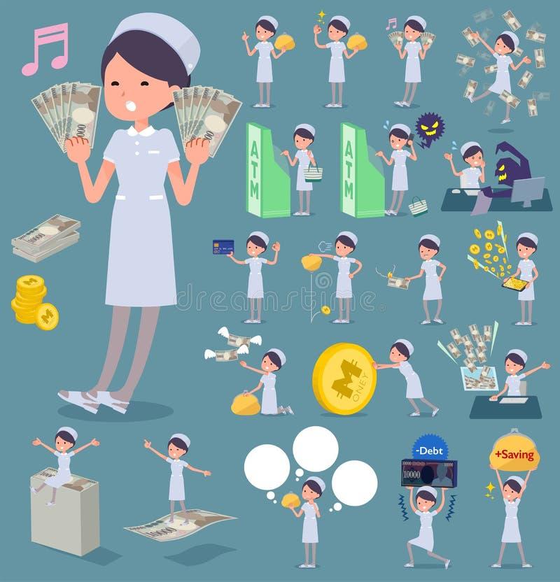 Type plat woman_money d'usage d'infirmière illustration libre de droits
