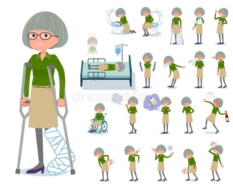 Type plat women_sickness de chemise de vert vieux illustration libre de droits