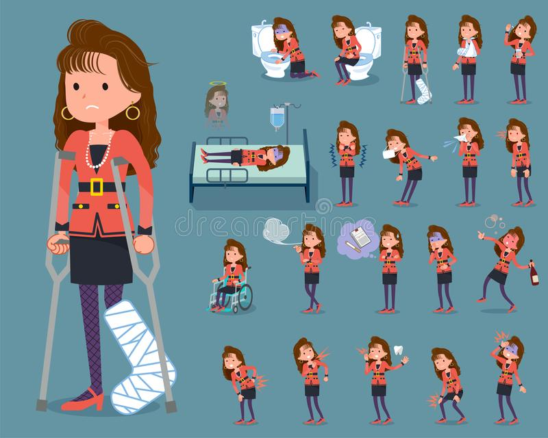 Type plat women_sickness de mode de 90s illustration de vecteur