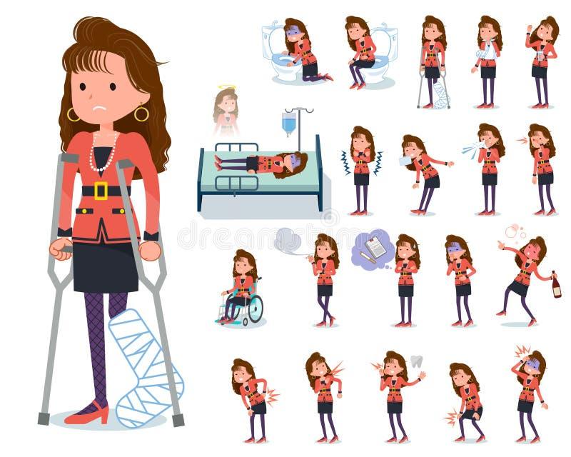 Type plat women_sickness de mode de 90s illustration libre de droits