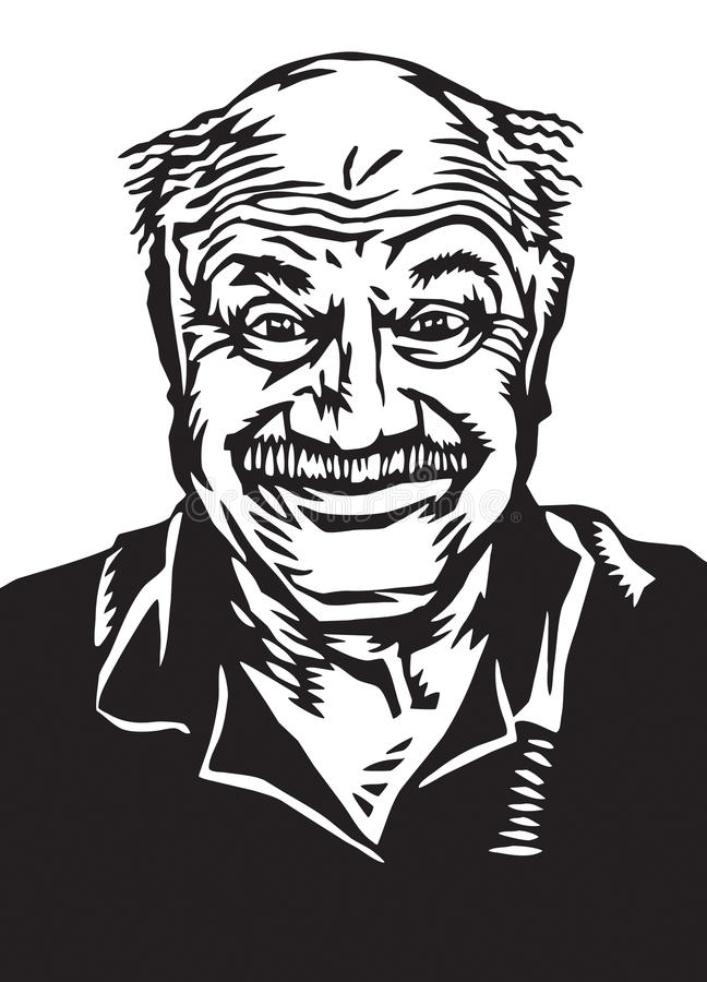 Type plus âgé heureux maladroit illustration libre de droits