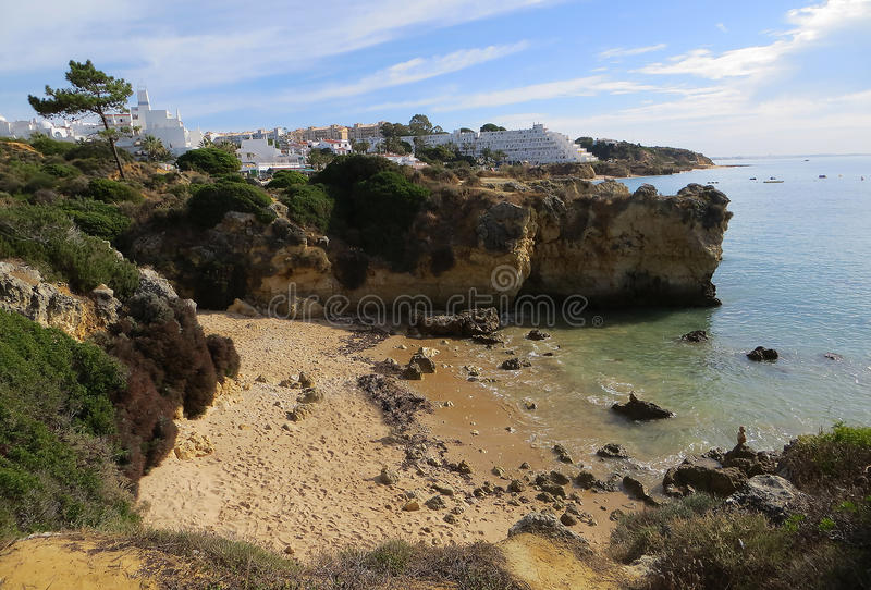 Type of relief (Albufeira, Portugal). Relief coast near Albufeira (Albufeira, Portugal royalty free stock image