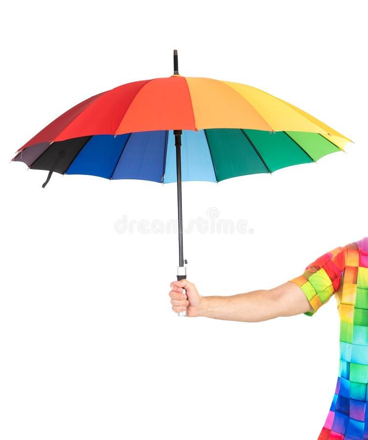 Type tenant un arc-en-ciel coloré photo libre de droits