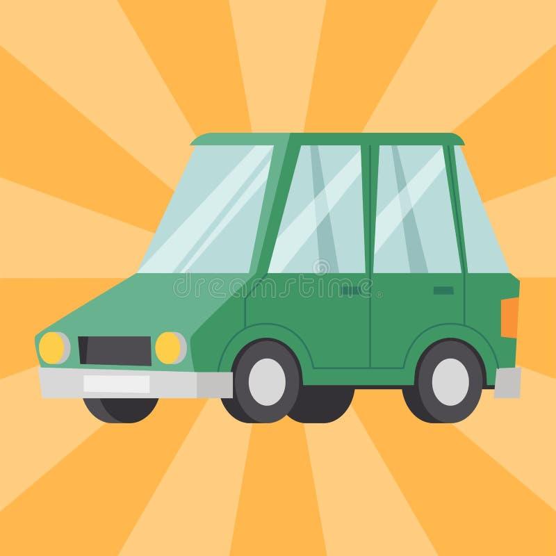 Type vert plat illustration classique générique de véhicule de voiture d'automobile d'affaires de vecteur de style de berline de  illustration stock