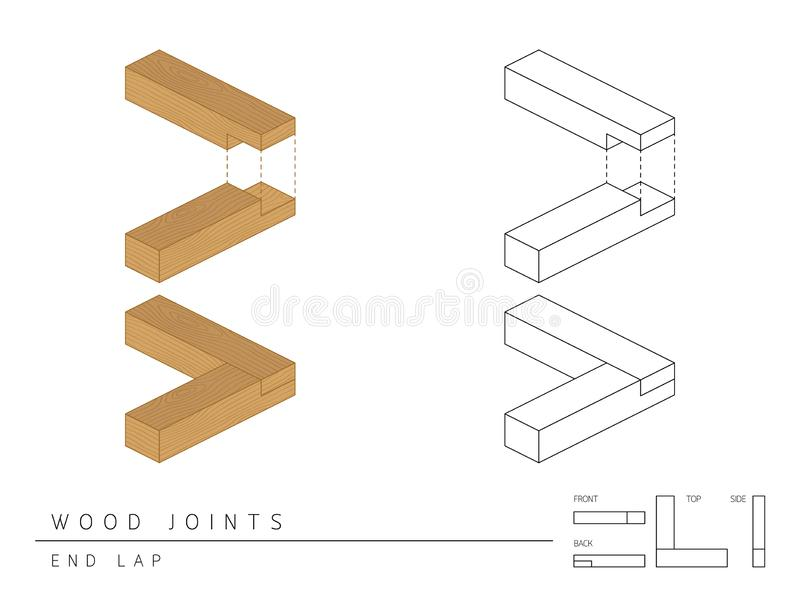 Type of wood joint set End Lap style, perspective 3d with top front side and back view isolated on white. Background stock illustration